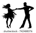 couple dancing silhouette | Shutterstock .eps vector #742488376