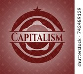 capitalism retro style red... | Shutterstock .eps vector #742489129