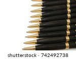 ballpoint pen made of wood and... | Shutterstock . vector #742492738