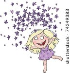 girl with flowers of violet | Shutterstock .eps vector #74249383