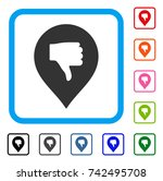 thumb down marker icon. flat... | Shutterstock .eps vector #742495708