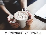 cup of coffee with marshmallows ...   Shutterstock . vector #742496038