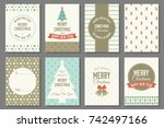 merry christmas typography and... | Shutterstock .eps vector #742497166