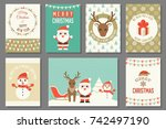 merry christmas typography and... | Shutterstock .eps vector #742497190