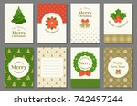 merry christmas typography and... | Shutterstock .eps vector #742497244