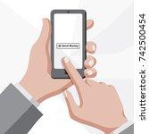 hands in suit holding...   Shutterstock .eps vector #742500454