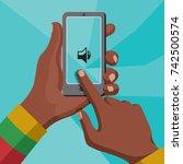 hands of african man holding...   Shutterstock .eps vector #742500574