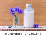 natural cosmetic bottle with... | Shutterstock . vector #742501549