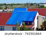 blue plastic tarpaulin...   Shutterstock . vector #742501864
