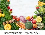 above view of fresh raw... | Shutterstock . vector #742502770