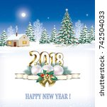 postcard happy new year 2018... | Shutterstock .eps vector #742504033