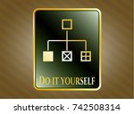gold emblem or badge with... | Shutterstock .eps vector #742508314