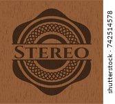 stereo vintage wood emblem   Shutterstock .eps vector #742514578