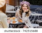 beautiful french woman.... | Shutterstock . vector #742515688