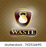 golden emblem or badge with... | Shutterstock .eps vector #742516690