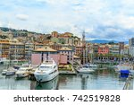 genoa port sea view with yachts ... | Shutterstock . vector #742519828