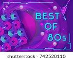 vector vibrant template 80s... | Shutterstock .eps vector #742520110