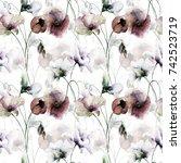 seamless wallpaper with... | Shutterstock . vector #742523719
