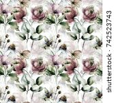 seamless pattern with flowers ... | Shutterstock . vector #742523743