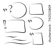 set hand drawn text box and... | Shutterstock .eps vector #742523809