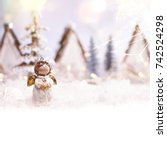 holiday background with... | Shutterstock . vector #742524298