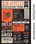 food menu for restaurant and... | Shutterstock .eps vector #742526743
