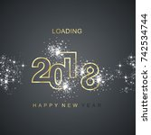 happy new year 2018 loading... | Shutterstock .eps vector #742534744