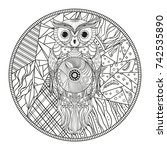 mandala with owl. zentangle.... | Shutterstock . vector #742535890