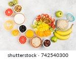 healthy breakfast with oats ... | Shutterstock . vector #742540300