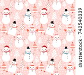 Cute Vector Winter Seamless...