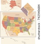 united states map   vintage... | Shutterstock .eps vector #742540684