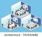 business meeting in an office...   Shutterstock .eps vector #742542688