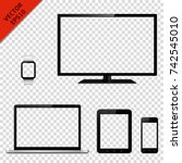 modern electronic devices with... | Shutterstock .eps vector #742545010