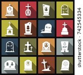 cemetery crosses and... | Shutterstock .eps vector #742545334