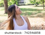 fitness woman in white shirt  | Shutterstock . vector #742546858