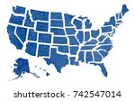 a vector map with all states in ... | Shutterstock .eps vector #742547014