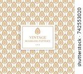 golden vintage decorative... | Shutterstock .eps vector #742553020