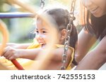 happy asian little child girl... | Shutterstock . vector #742555153