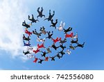 skydiving team work low angle... | Shutterstock . vector #742556080
