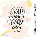 a nap is always a good idea.... | Shutterstock .eps vector #742557463