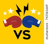red and blue boxing gloves... | Shutterstock .eps vector #742561669