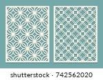 set of die cut card. laser...   Shutterstock .eps vector #742562020