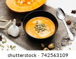 homemade autumn pumpkin and... | Shutterstock . vector #742563109