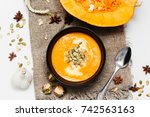 homemade autumn pumpkin and... | Shutterstock . vector #742563163