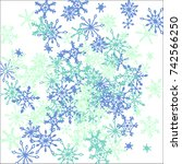 winter background with doodle... | Shutterstock .eps vector #742566250