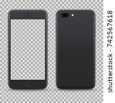 realistic dark grey smartphone... | Shutterstock .eps vector #742567618