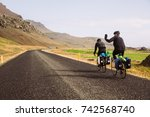 bikers with saddle bags and... | Shutterstock . vector #742568740