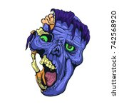 hand drawn zombie face with... | Shutterstock .eps vector #742568920