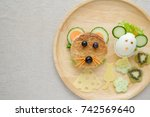 mouse rat lunch plate  fun food ... | Shutterstock . vector #742569640