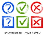 question mark  x and ok symbol... | Shutterstock .eps vector #742571950